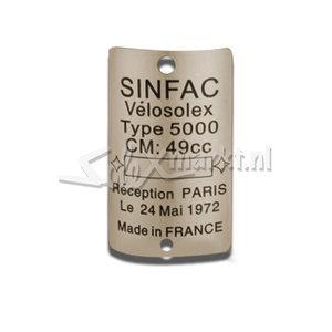 Plaque SINFAC VeloSolex - Solex 5000